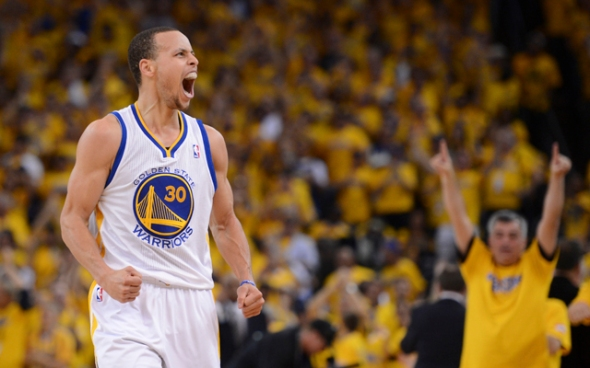 April 28, 2013; Oakland, CA, USA; Golden State Warriors point guard Stephen Curry (30) celebrates after making a basket against the Denver Nuggets during the third quarter in game four of the first round of the 2013 NBA playoffs at Oracle Arena. The Warriors defeated the Nuggets 115-101. Mandatory Credit: Kyle Terada-USA TODAY Sports