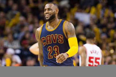 CLEVELAND, OH - APRIL 5: LeBron James #23 of the Cleveland Cavaliers smiles to the fans during the second half against the Chicago Bulls at Quicken Loans Arena on April 5, 2015 in Cleveland, Ohio. The Cavaliers defeated the Bulls 99-94. NOTE TO USER: User expressly acknowledges and agrees that, by downloading and or using this photograph, User is consenting to the terms and conditions of the Getty Images License Agreement. (Photo by Jason Miller/Getty Images)