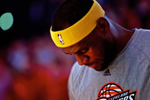 Nov 4, 2014; Portland, OR, USA; Cleveland Cavaliers forward LeBron James (23) during the national anthem before the game against the Portland Trail Blazers at the Moda Center. Mandatory Credit: Craig Mitchelldyer-USA TODAY Sports