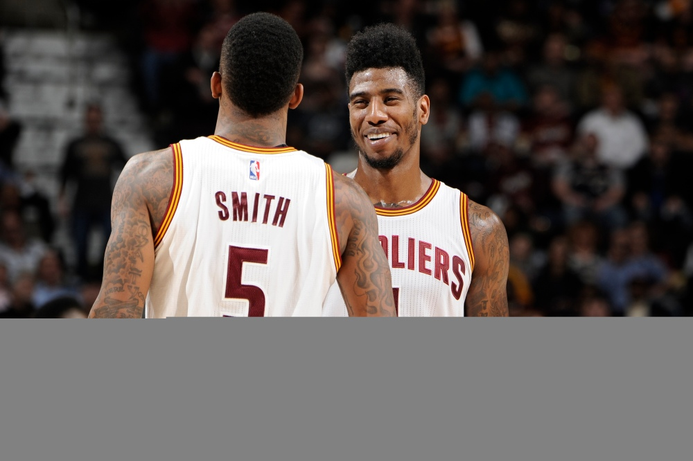 CLEVELAND, OH - FEBRUARY 11:  Iman Shumpert #4 and J.R. Smith #5 of the Cleveland Cavaliers during the game against the Miami Heat on February 11, 2015 at Quicken Loans Arena in Cleveland, Ohio. NOTE TO USER: User expressly acknowledges and agrees that, by downloading and/or using this Photograph, user is consenting to the terms and conditions of the Getty Images License Agreement. Mandatory Copyright Notice: Copyright 2015 NBAE (Photo by David Liam Kyle/NBAE via Getty Images)
