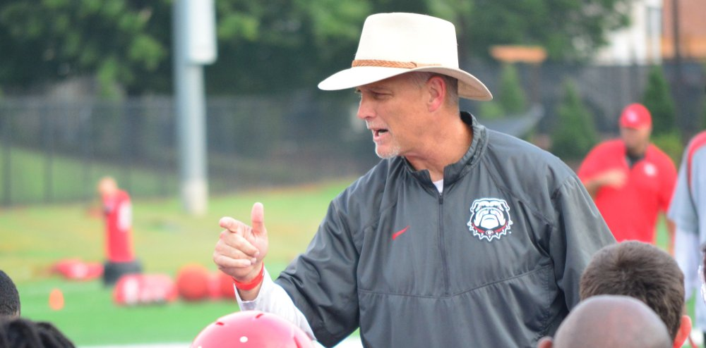Georgia head coach Mark Richt during the Bulldogs' session on the Woodruff Practice Fields on Tuesday, Aug. 11, 2015, in Athens, Ga. (Photo by Steven Colquitt)